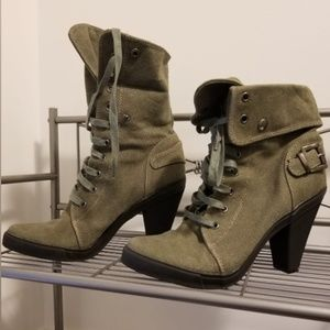 Aldo army green high heel boots